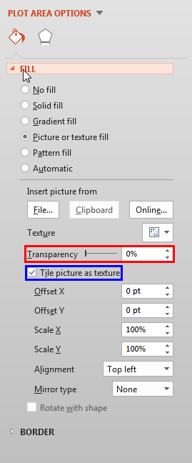 Transparency slider and Tile check-box