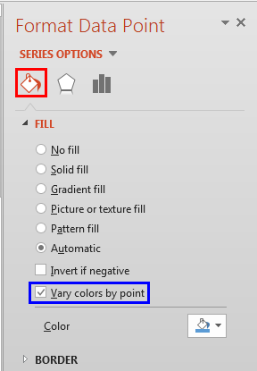 Vary colors by point check-box selected
