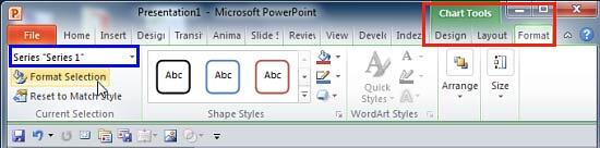 Format Selection button to be clicked with the proper data series selected