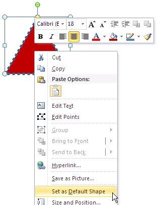 Set as Default Shape option