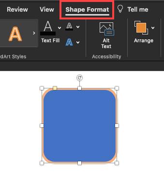 Shape Format tab of the Ribbon