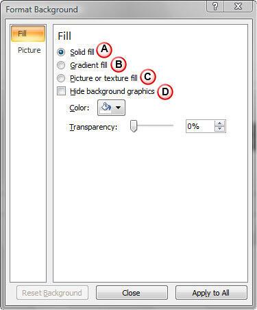 Format Background dialog box