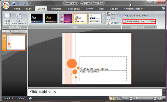 Slide background with Hide Background Graphics box unchecked