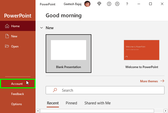 Bring up Accounts in PowerPoint's Backstage view