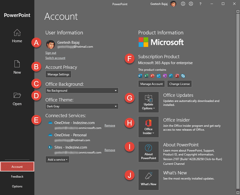 Backstage view's Account tab in PowerPoint