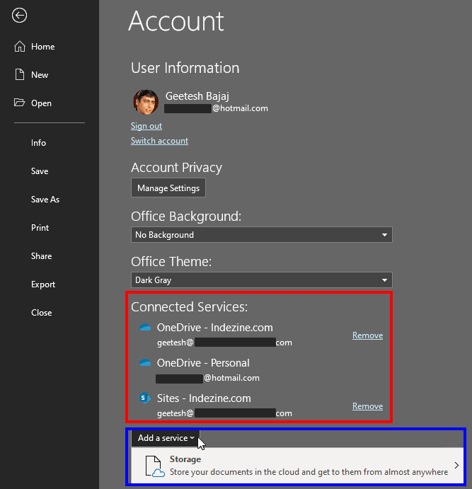 Account window in PowerPoint 365 for Windows
