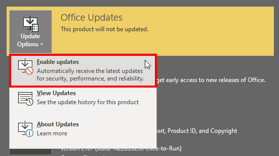 Enable updates in PowerPoint 365
