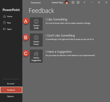 Feedback Tab of Backstage View in PowerPoint 365 for Windows