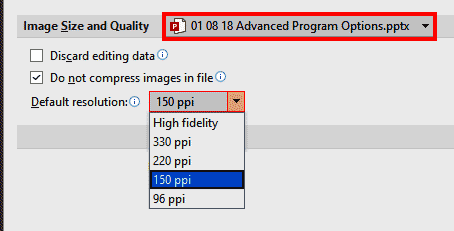 Image size and quality in PowerPoint 365