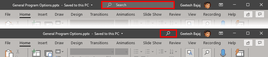 Microsoft Search box above the Ribbon
