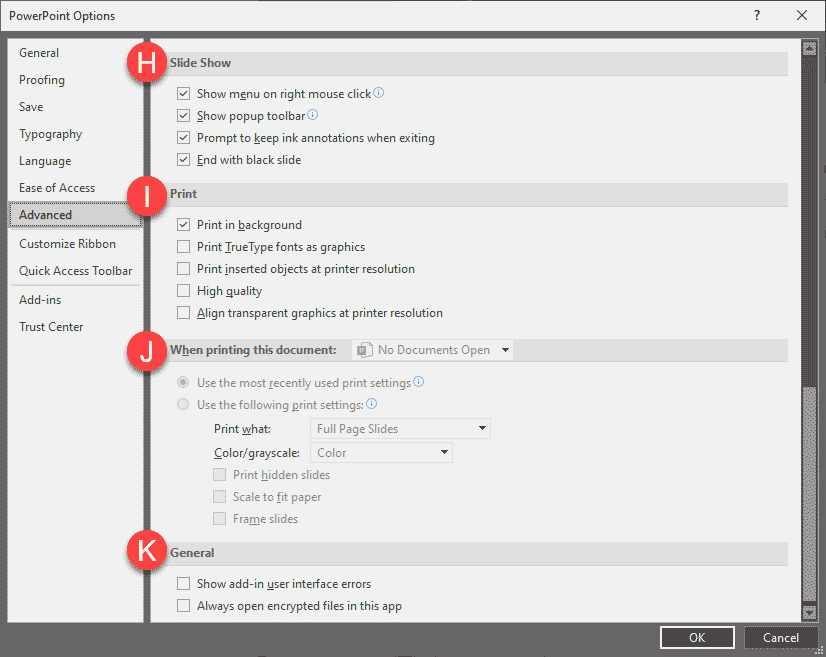 More options in the Advanced tab of the PowerPoint Options dialog box
