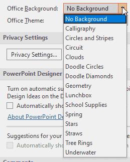 Office Background drop-down list