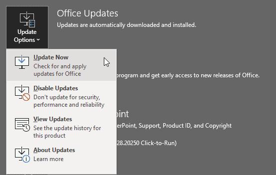 Office Updates flyout menu in PowerPoint 365