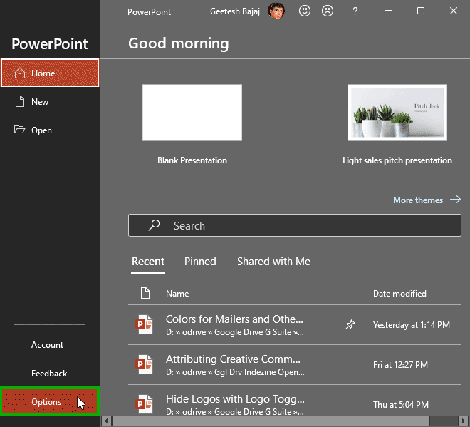 Access Options in PowerPoint