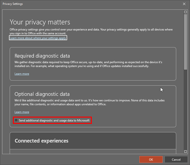 Manage your privacy settings in PowerPoint