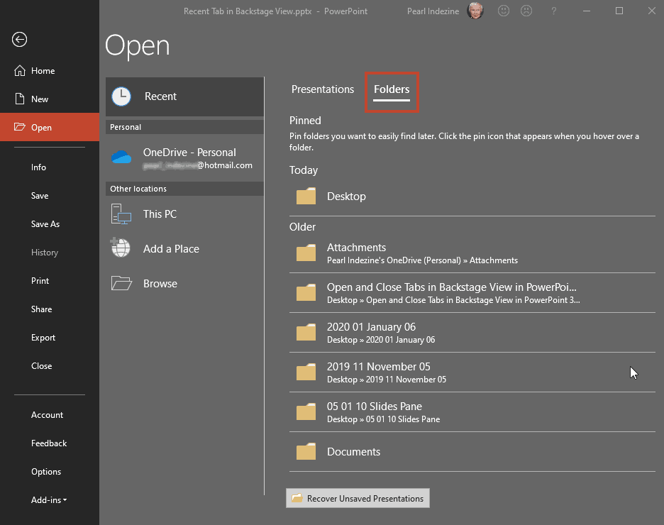 Recent files and folders in the Open tab of Backstage View