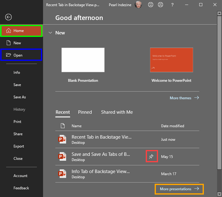 Backstage view in PowerPoint 2019 for Windows