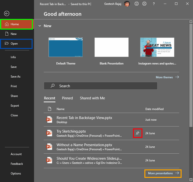Backstage view in PowerPoint 365 for Windows