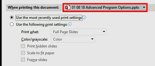 When printing this document in PowerPoint 365
