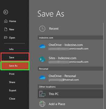 Save and Save As Tabs of Backstage View in PowerPoint 365 for Windows