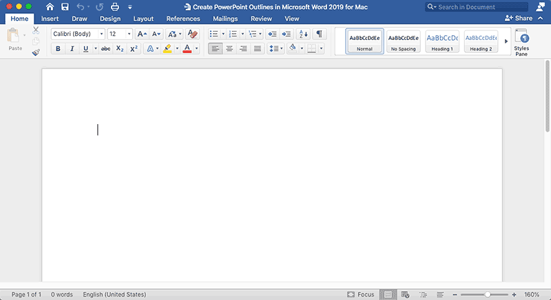 Word 2019 document