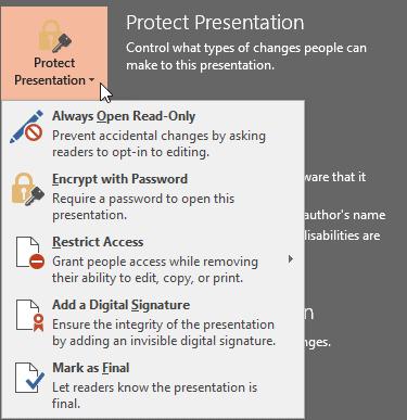 Protect Presentation option