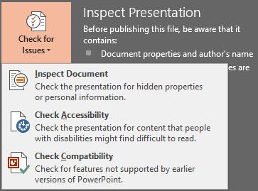 Inspect Presentation option