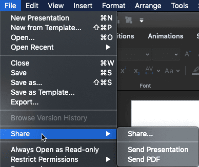 Share submenu for a local file