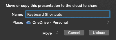 Move or copy this presentation to the cloud to share