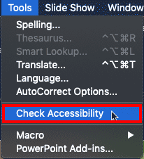 Check Accessibility option