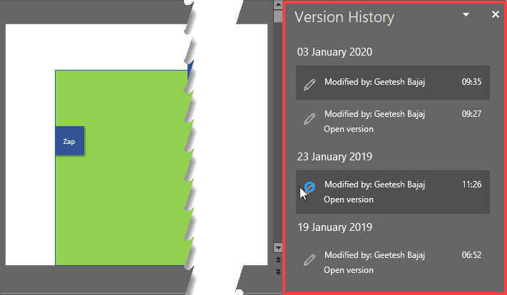 Version History Task Pane