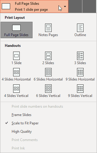 Slide and Handout layouts