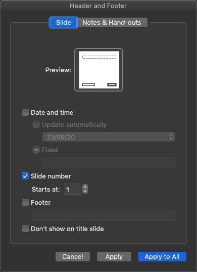 Header and Footer dialog box