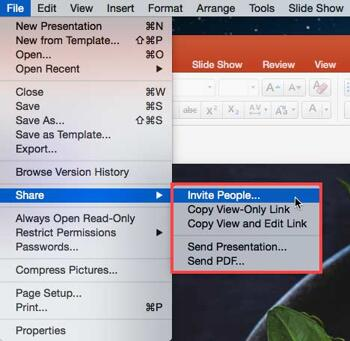Share Tab of Backstage View in PowerPoint 2016 for Mac