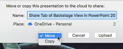 Move or Copy drop-down list