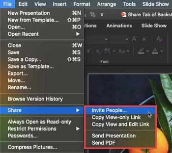 Share Tab of Backstage View in PowerPoint 365 for Mac