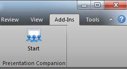 Presentation Companion in the Add-Ins tab of PowerPoint