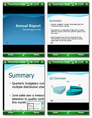 Screenshots from PowerPoint Mobile, part of Windows 6