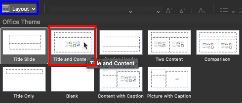 Change slide layout