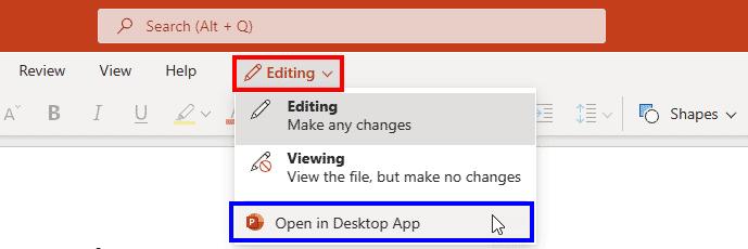 Open in Desktop App option