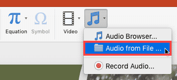 Audio from File option within the Media drop-down menu