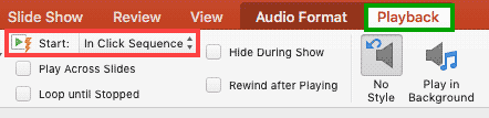Playback tab of the Ribbon activated
