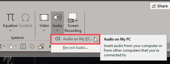 Audio on My PC option