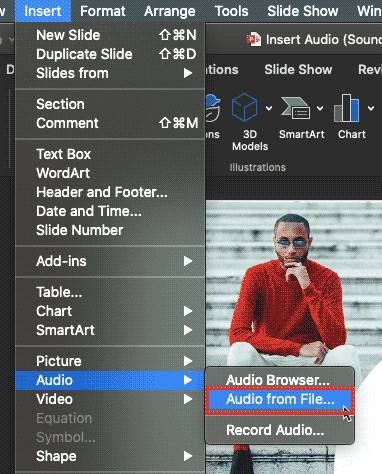 Audio from File option within Insert menu