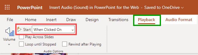 Audio Tools Playback tab of the Ribbon