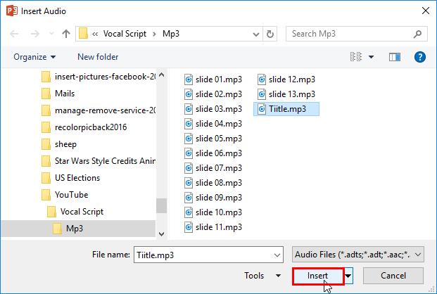 Insert Audio dialog box