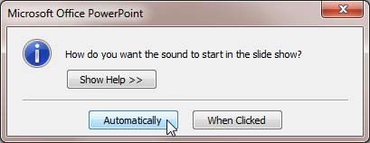 Options to start the sound in the slide show