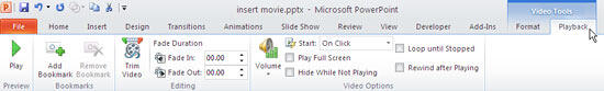 Video Tools Playback tab of the Ribbon