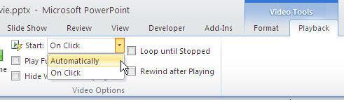 Automatically playing mode