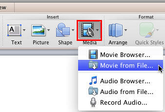 Movie from File option selected within the Media drop-down gallery